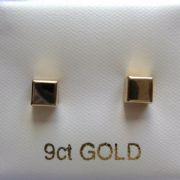 Solid 9ct Gold Small 4mm cube stud earrings